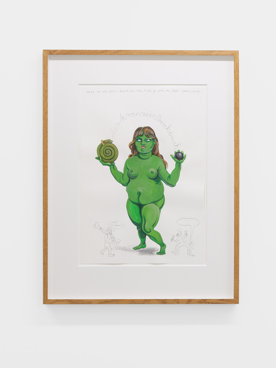 Figur für Prozession (Selbst als Grüne Frau), 2021  Signed and dated on front  gouache and pencil on paper  site size: 42 x 29.8 cm / 16 ½ x 11 ¾ in frame size: 60.5 x 47.1 x 3.5 cm / 23 ⅞ x 18 ½ x 1 ⅜ in