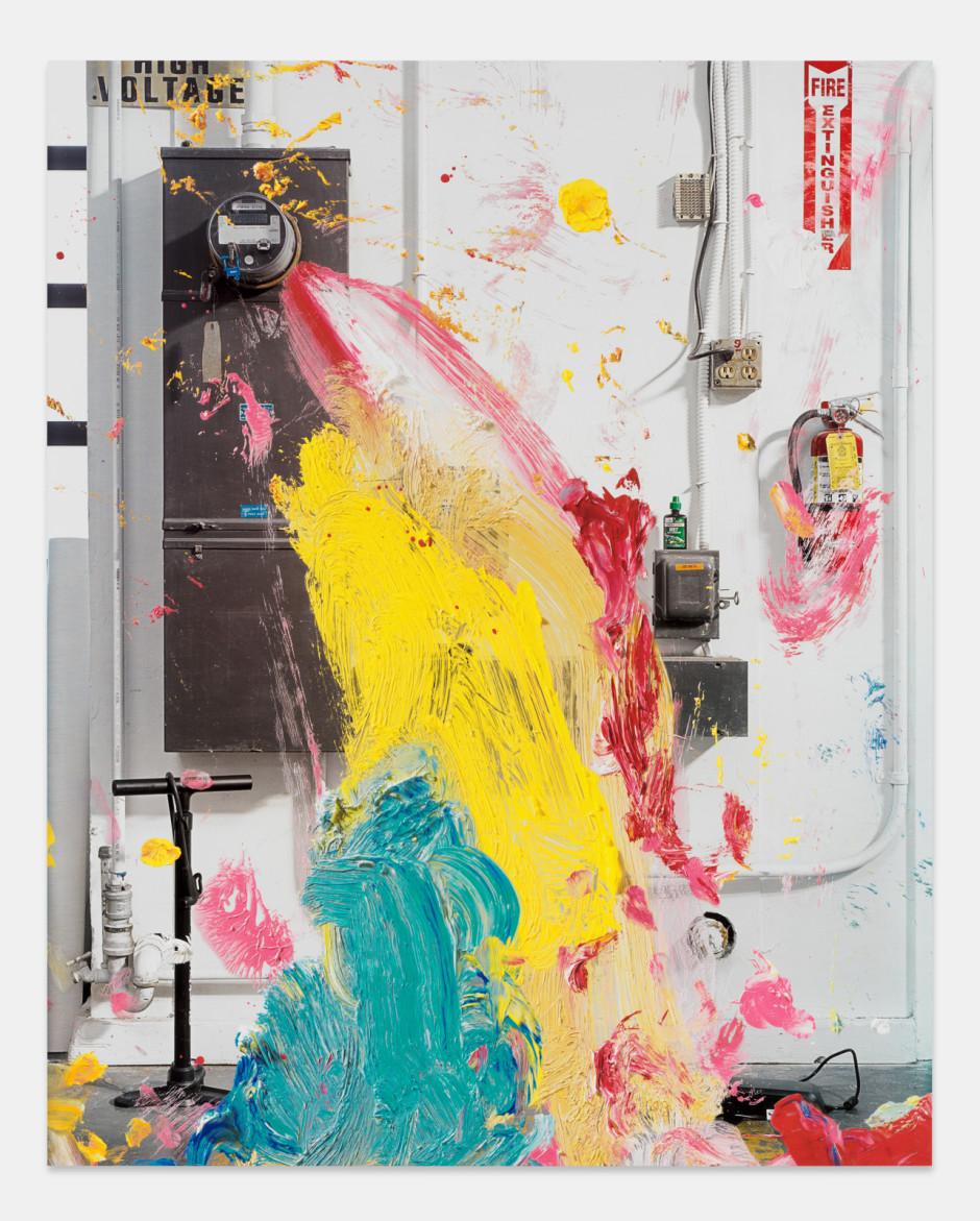 High Voltage, 2021aluminium composite panel, aluminium honeycomb, polyurethane adhesive, epoxy primer, gesso, solvent-based screen printing paint, water-based screen printing paint  site size: 243.8 x 194.9 x 2.2 cm / 96 x 76 ¾ x ⅞ in frame size: 247.6 x 198.7 x 5.1 cm / 97 ½ x 78 ¼ x 2 ⅛ in