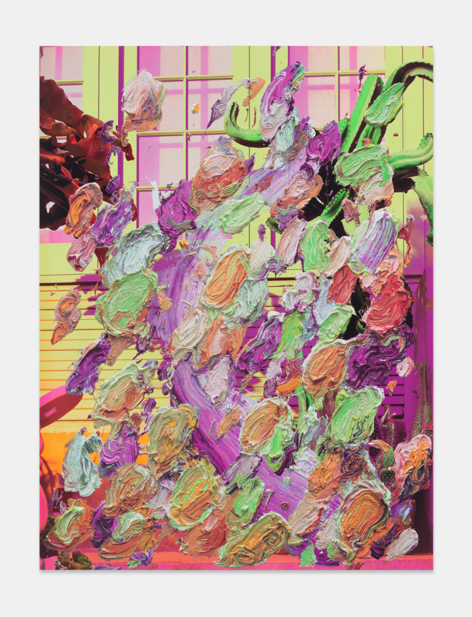 Gnarly Guard, 2021  aluminium composite panel, aluminium honeycomb, polyurethane adhesive, epoxy primer, gesso, solvent-based screen printing paint, water-based screen printing paint  site size: 203.2 x 152.4 x 2.2 cm / 80 x 60 x ⅞ in frame size: 207 x 156.2 x 5.1 cm / 81 ½ x 61 ½ x 2 in