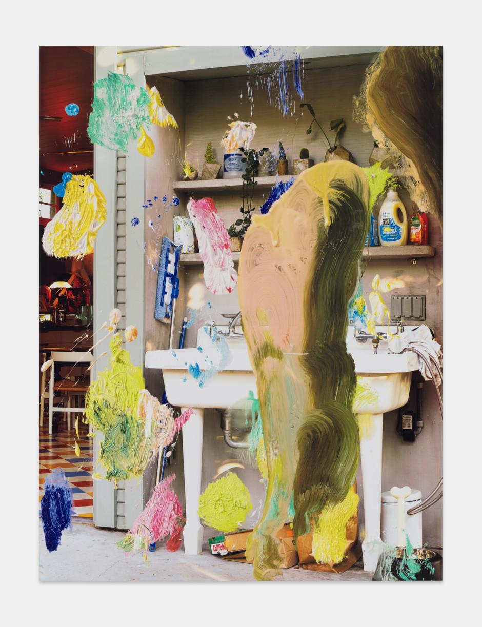 Sink, 2021  aluminium composite panel, aluminium honeycomb, polyurethane adhesive, epoxy primer, gesso, solvent-based screen printing paint, water-based screen printing paint  site size: 203.2 x 152.4 x 2.2 cm / 80 x 60 x ⅞ in frame size: 207 x 156.2 x 5.1 cm / 81 ½ x 61 ½ x 2 in