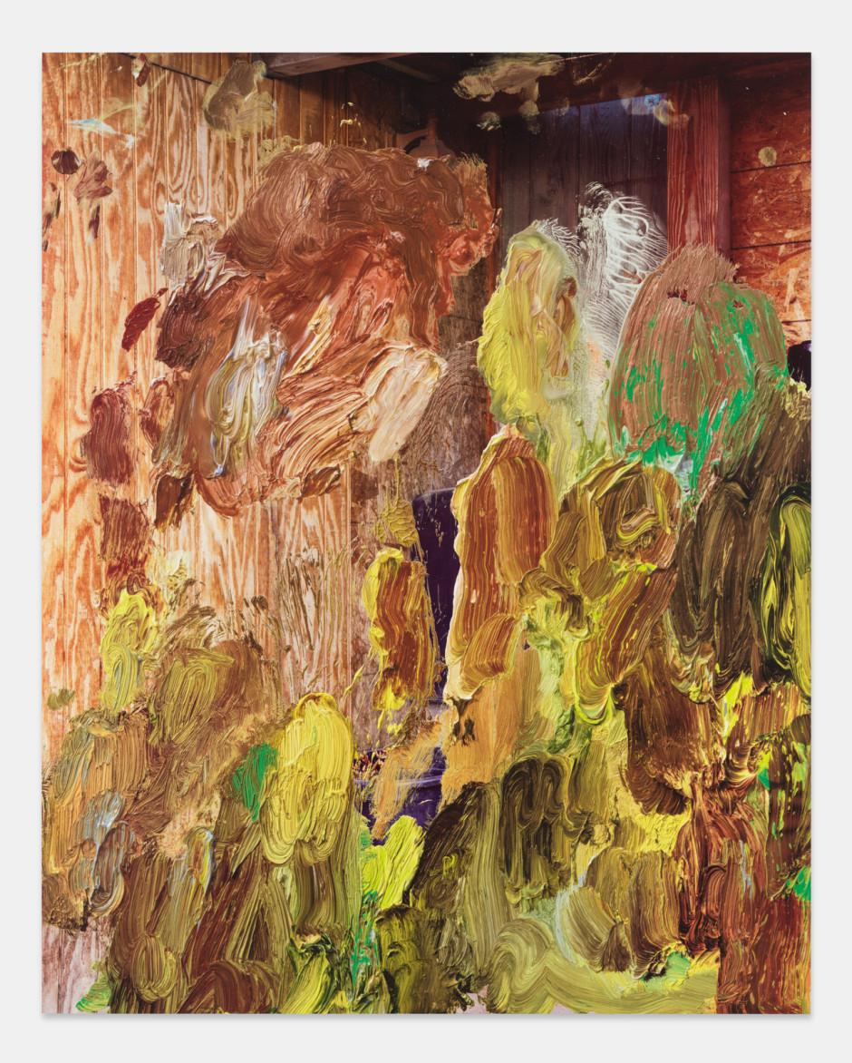 Plywood Corner, 2021  aluminium composite panel, aluminium honeycomb, polyurethane adhesive, epoxy primer, gesso, solvent-based screen printing paint, water-based screen printing paint  site size: 243.8 x 194.9 x 2.2 cm / 96 x 76 ¾ x ⅞ in frame size: 247.6 x 198.7 x 5.1 cm / 97 ½ x 78 ¼ x 2 ⅛ in