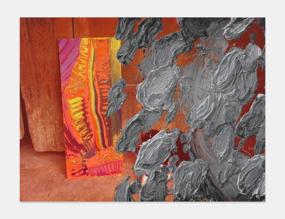James, 2021  aluminium composite panel, aluminium honeycomb, polyurethane adhesive, epoxy primer, gesso, solvent-based screen printing paint, water-based screen printing paint  site size: 152.4 x 203.2 x 2.2 cm / 60 x 80 x ⅞ in frame size: 156.2 x 207 x 5.1 cm / 61 ½ x 81 ½ x 2 in