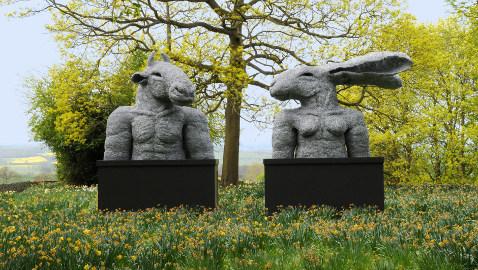 Torsos (Lady Hare and Minotaur) 2000 Sophie Ryder Galvanised Steel Wire