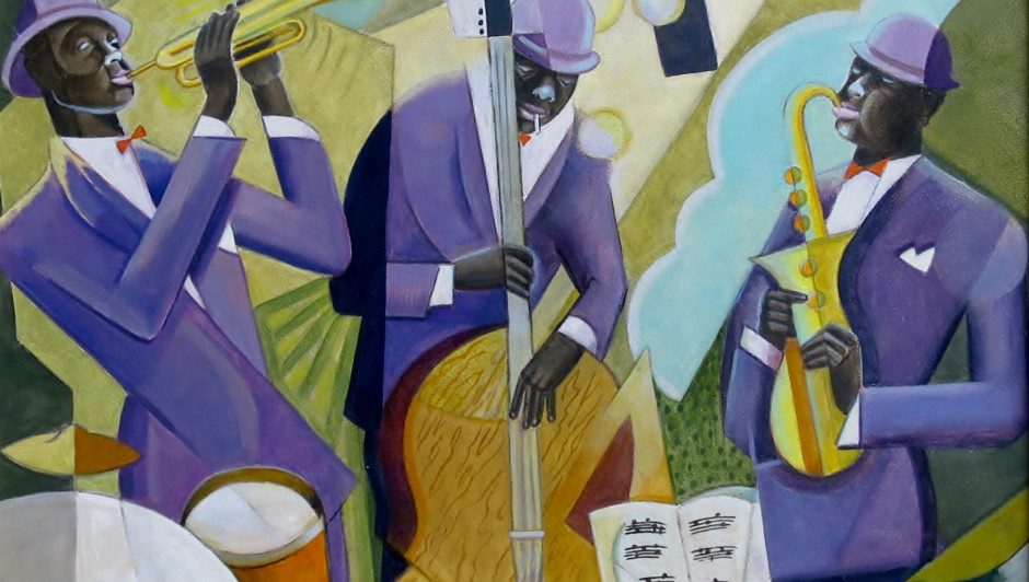 BELA DE KRISTO (1920-2006) JAZZ BAND Oil on board 18 x 14 inches