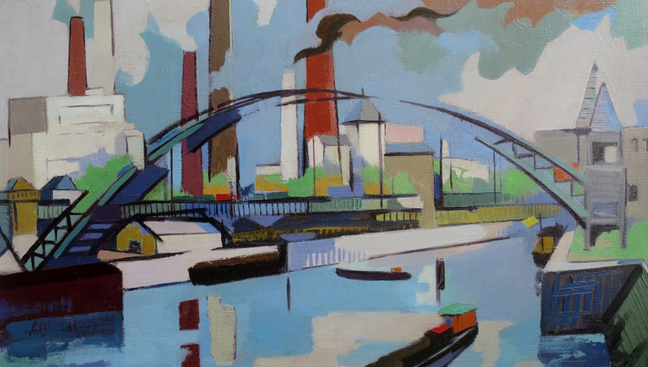 Jean Viollier (1896 - 1985) Pont de Bercy Oil on canvas,signed,1960 26 x 36 inches canvas size
