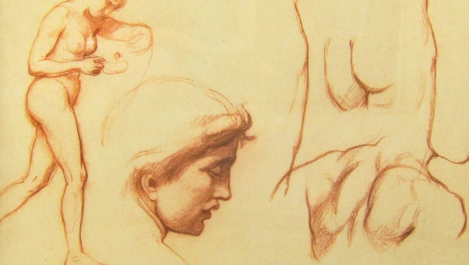 SIR WILLIAM BLAKE RICHMOND KCB, RA (1842-1921) Study for 'Behold the Bridegroom Cometh' or 'The Ten Virgins' Sanguine chalk on paper 9 1/2 x 13 inches paper size