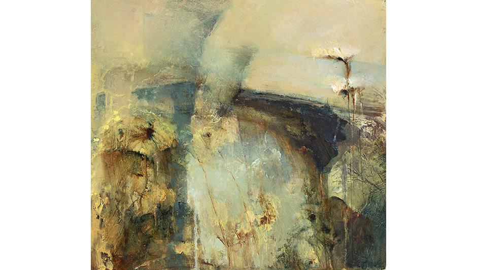 'Footbridge Across the Pond' Peter Turnbull   Oil on Canvas