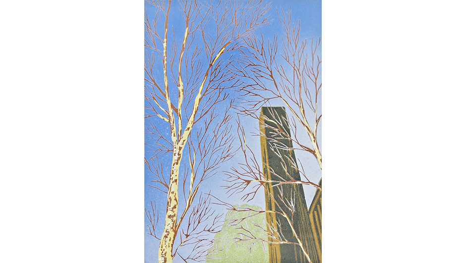 'Tate Birches' By Peter Ursem Colour Lino Print