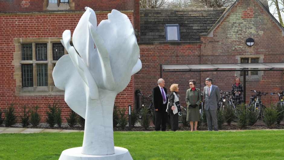 Princess Anne talks to Helaine Blumenfeld about her sculpture, 'Tree Of LIfe', at the official opening of the Woolf Institute, Cambridge, APril 2018.