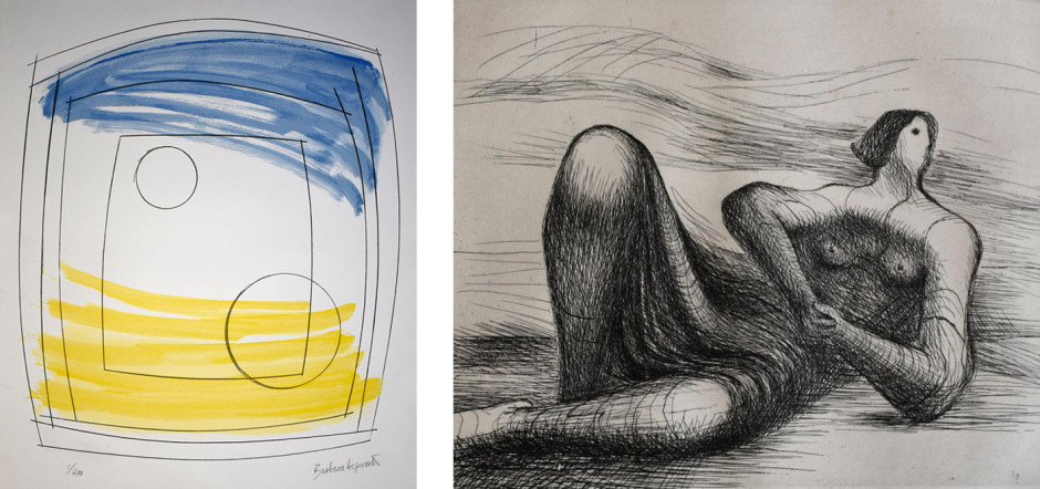 Moon Play (1972) detail, lithograph on paper Reclining Figure VI (1977-78) detail, etching and aquatint on paper BARBARA HEPWORTH HENRY MOORE RELOCATION A CHANGING SELECTION OF WORKS BY GALLERY ARTISTS AND MODERN ST IVES & BRITISH NAMES ongoing