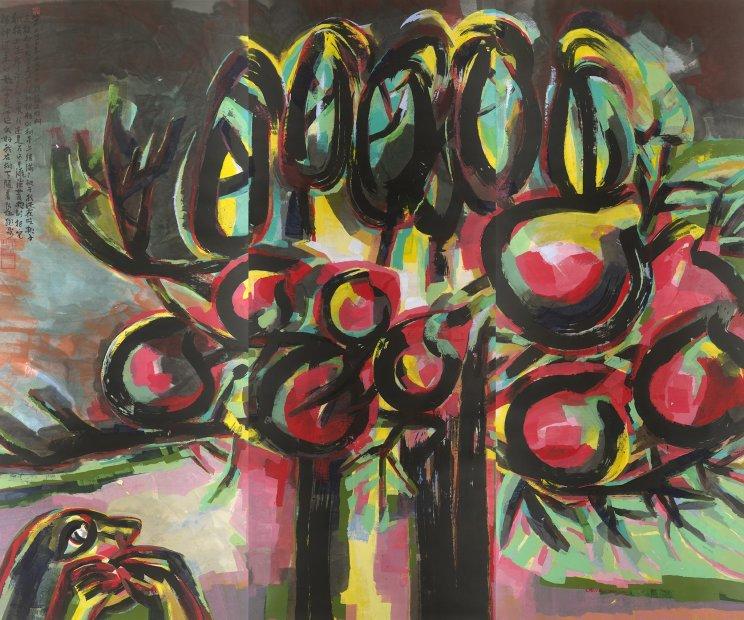 Chen Haiyan 陈海燕, A Peach-Corn Tree on a Mudflat 滩涂上的桃子玉米树, 2010