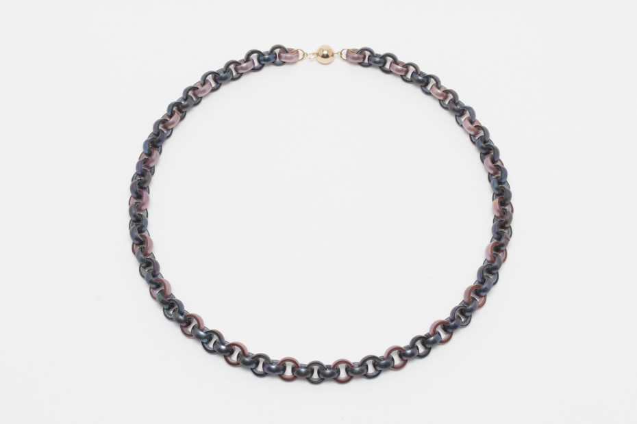 Mauve & Peacock Pearl Chain Necklace, 2019