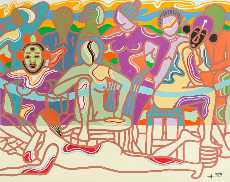 <span class=&#34;artist&#34;><strong>Ajarb Bernard Ategwa</strong></span>, <span class=&#34;title&#34;><em>Nkane women</em>, 2016</span>