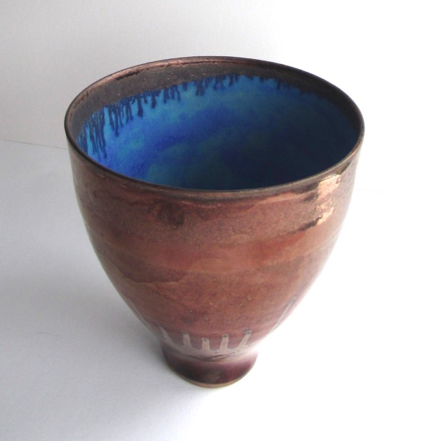 Tall Copper lustred Blue Pool Bowl, 2020