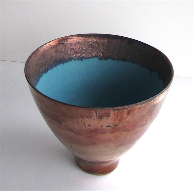Tall Copper lustred Turquoise Bowl, 2020