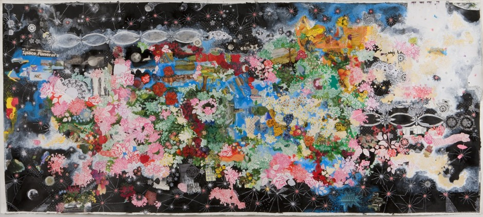 Sally Gil, Space Funeral, 2010, collage and paint on paper, 42 x 93 in.