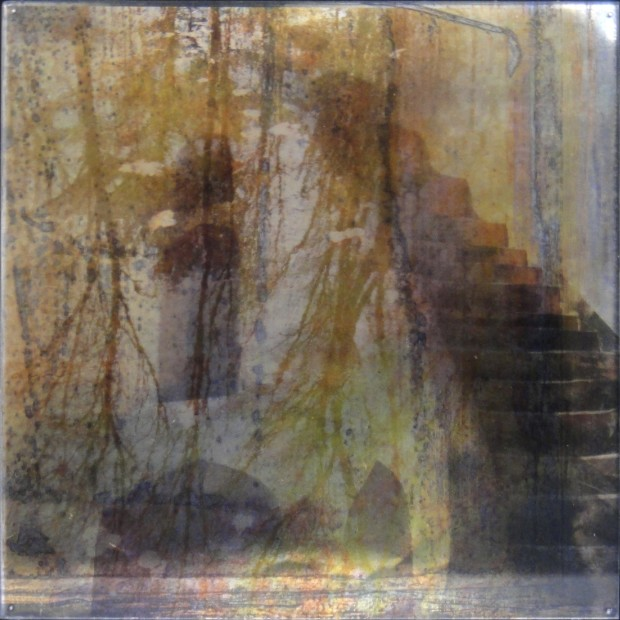 Dorothy Simpson Krause, Deep Romantic Chasm, 2010, lenticular print with encaustic, 14 x 14 in.