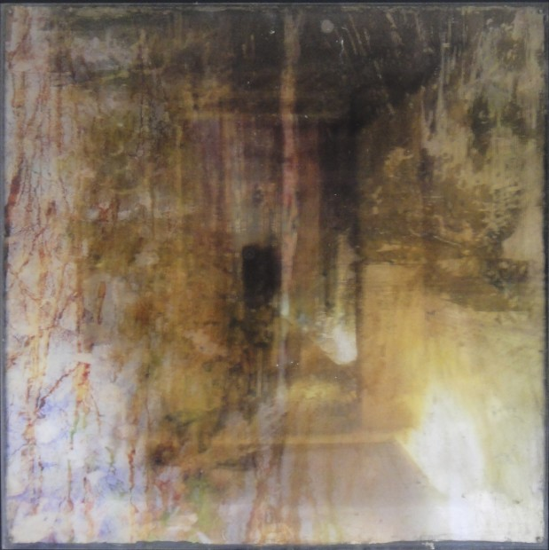 Dorothy Simpson Krause, Mingled Measure, 2010, lenticular print with encaustic, 14 x 14 in.
