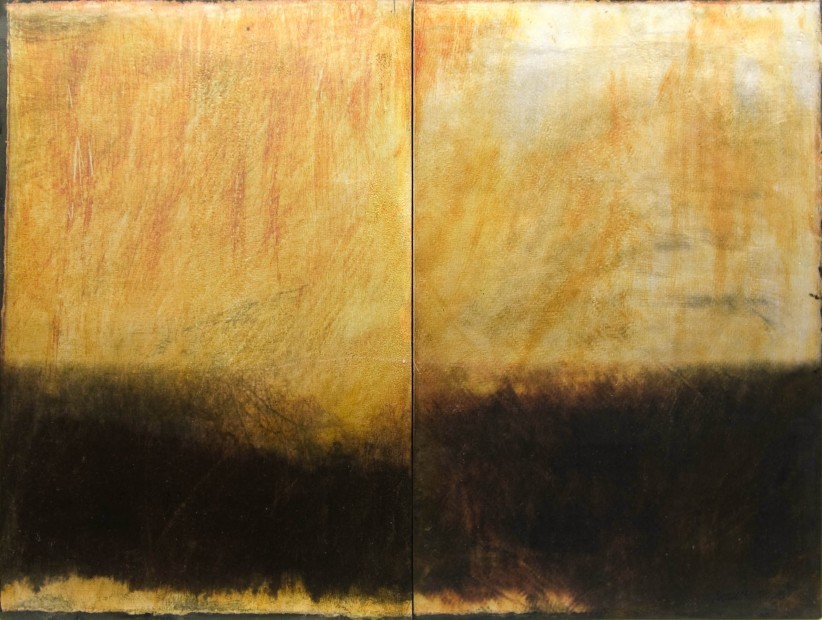 Dorothy Simpson Krause, Silver Rain (diptych), 2008, custom textured substrate on board with mixed media, 24 x 32 in.