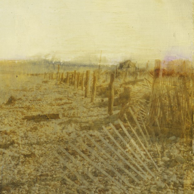 Dorothy Simpson Krause, Shack in the Dunes, 2006, UV cured flatbed print with silver leaf and mixed media, 32 x 32 in.