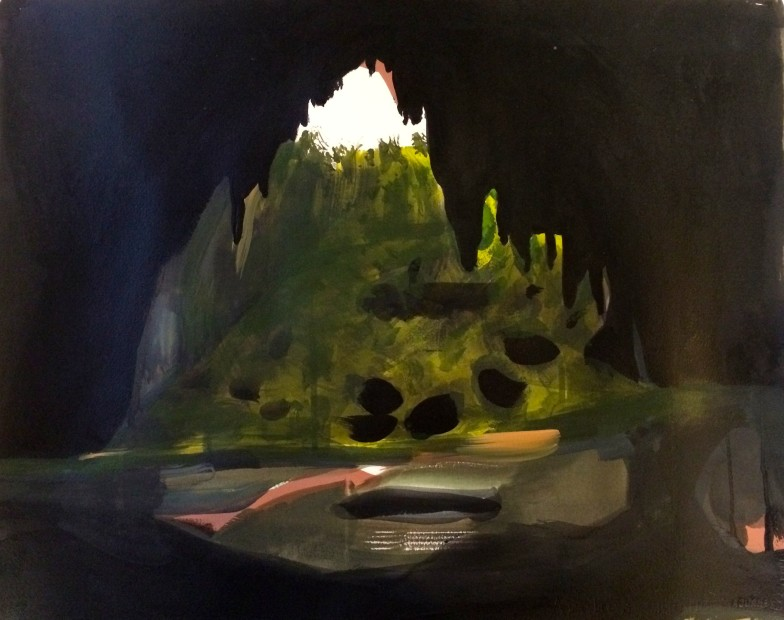 Melora Griffis, imaginary cave, 2015, acrylic, gouache, charcoal, graphite and pastel on paper, 19 x 22.75 in.