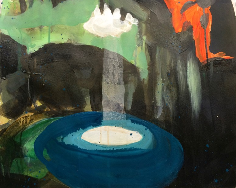 Melora Griffis, pool of light, 2015, acrylic, gouache, charcoal, graphite and pastel on paper, 19 x 22.75 in.