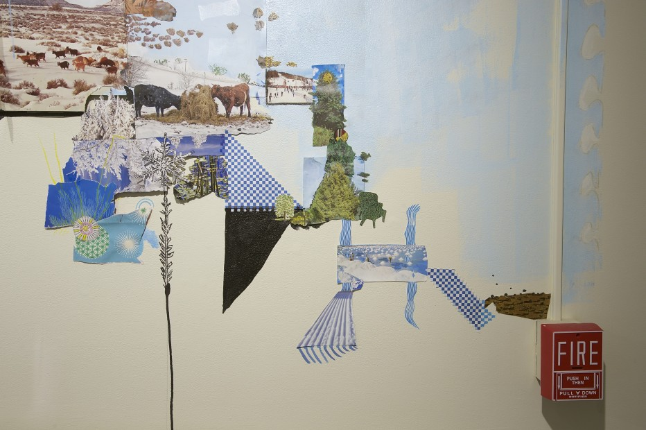 Detail, Found and Made (2016, site specific installation at The Bennington Museum, collage and paint on the gallery walls)