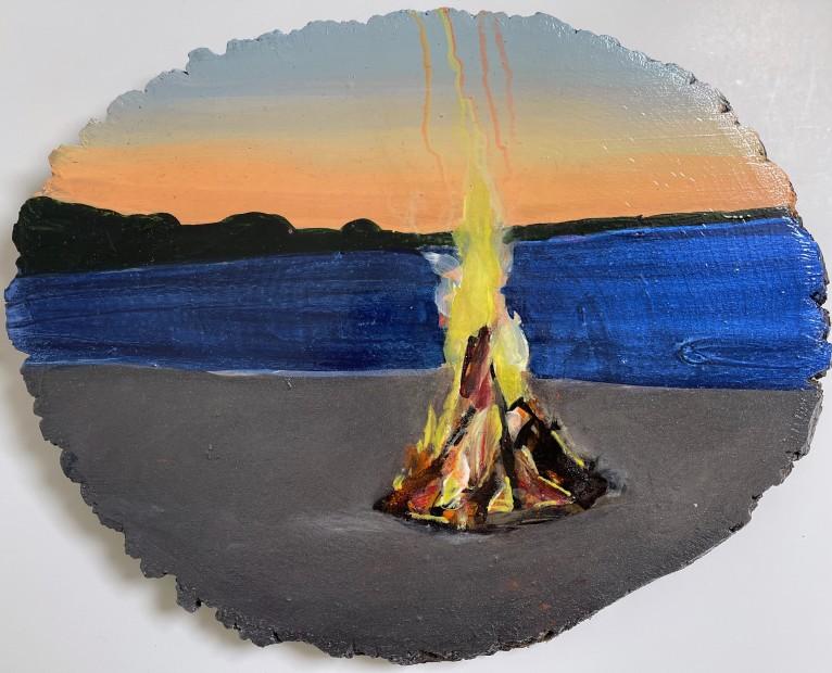 Melora Griffis, beach fire, 2021
