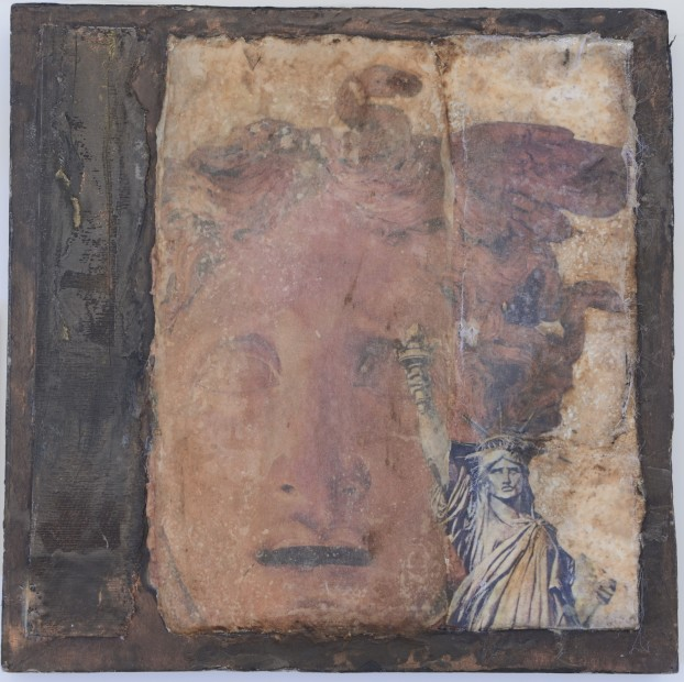 Dorothy Simpson Krause Liberty 2000 mixed media collage on wood panel 12 x 12 x 1.5 in.
