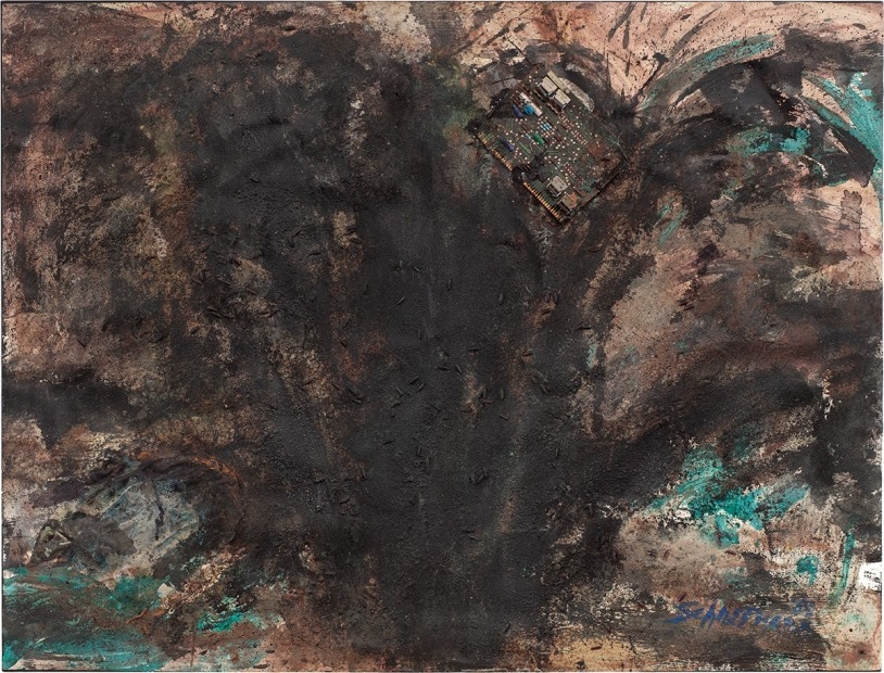 Carolee Schneemann Untitled Black Works From Dust Series 1988 Ink Ashes Acrylic Paint String Vegetable Dye Wire And Circuit Board On Heavy Rag Paper 38 X 50 In