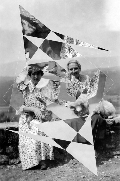 Andrea Geyer, Constellations (Alice B. Toklas and Gertrude Stein with Pepe and Basket), 2018, collaged archival prints on paper, 98.7 x 66 cm, 38 7/8 x 26 in