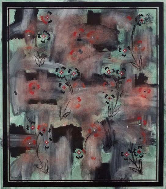 <div class=&#34;artist&#34;><strong>KAMROOZ ARAM</strong></div><div class=&#34;title&#34;><em>Ornamental Composition for Social Spaces #14</em>, 2017</div><div class=&#34;medium&#34;>Oil, wax, oil crayon, and color pencil on canvas</div><div class=&#34;dimensions&#34;>198.1 x 172.7 cm<br />78 x 68 in</div>