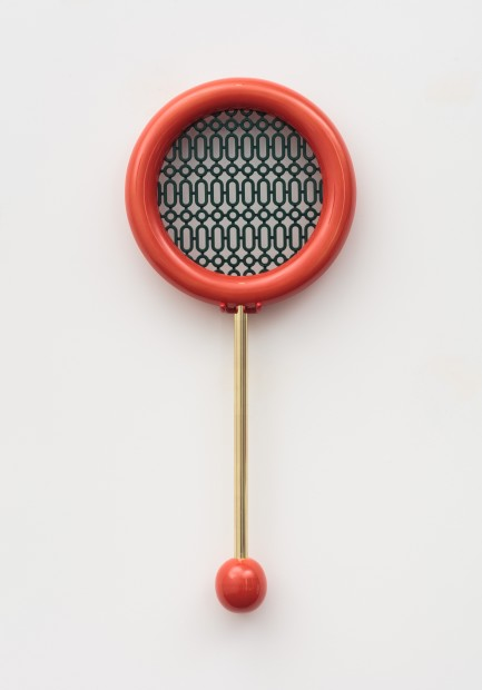 Richard Slee, Racquet, Glazed ceramic with plastic mesh and metal rod, 70 x 31 cm, 27 1/2 x 12 1/4 in