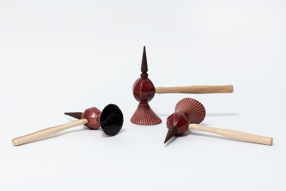 Richard Slee, Three Hammers, 2016, Glazed ceramic with wood hammer handles and cast iron in three parts, Part 1: 26 x 36 x 10.5 cm, 10 1/4 x 14 1/8 x 4 1/8 in, Part 2: 26.5 x 36 x 10 cm, 10 3/8 x 14 1/8 x 4 in, Part 3: 27 x 36 x 10 cm, 10 5/8 x 14 1/8 x 4 in