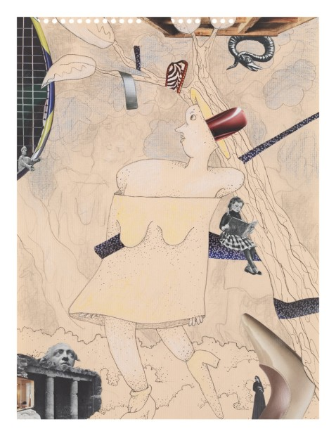Gladys Nilsson  A Walk...#2, 2014  Mixed media on paper  30.5 x 22.9 cm 12 x 9 in