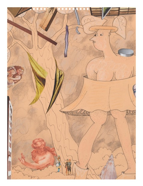 Gladys Nilsson  A Walk...#6, 2014  Mixed media on paper  30.5 x 22.9 cm 12 1/8 x 9 1/8 in
