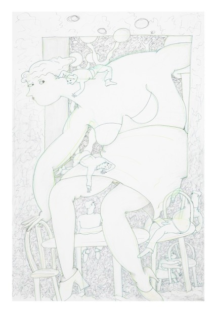 Gladys Nilsson  A Window #2, 2014  Ink, graphite and coloured pencil on paper  101.6 x 67.3 cm 40 x 26 1/2 in