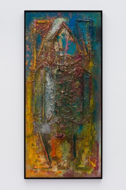 Frank Bowling, Ancestor Window, 1987, Acrylic paint and acrylic gel over foam on canvas, Framed: 191.3 x 89.1 x 5.4 cm, 75 1/4 x 35 1/8 x 2 1/8 in