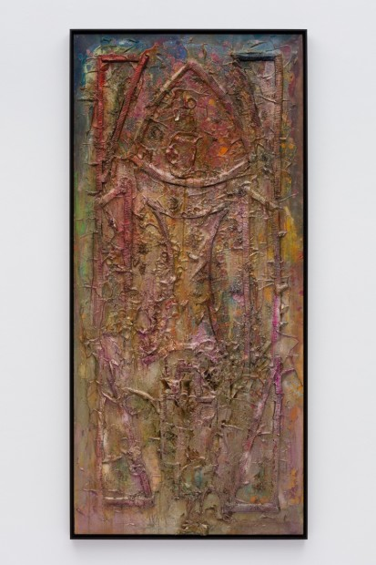 Frank Bowling, Bushlite, 1986, Acrylic paint and acrylic gel over foam on canvas with found additions, Framed: 191.3 x 88.8 x 5.4 cm, 75 1/4 x 35 x 2 1/8 in
