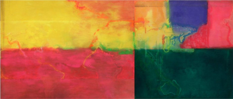 <p>Frank Bowling,<em> Africa to Australia</em>, 1971, Acrylic on canvas, 281 x 666 cm</p>