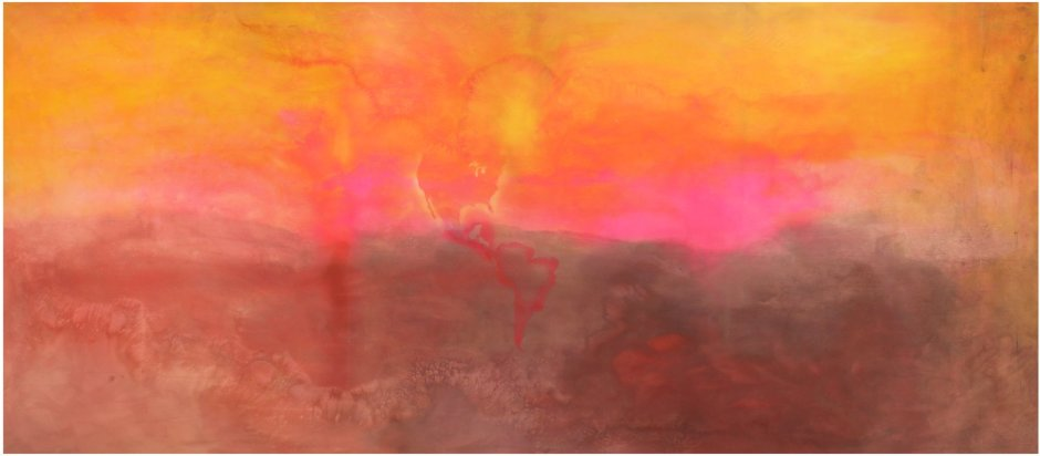 <p>Frank Bowling,<em> Texas Louise</em>, 1971, Acrylic on canvas, 282 x 665 cm</p>