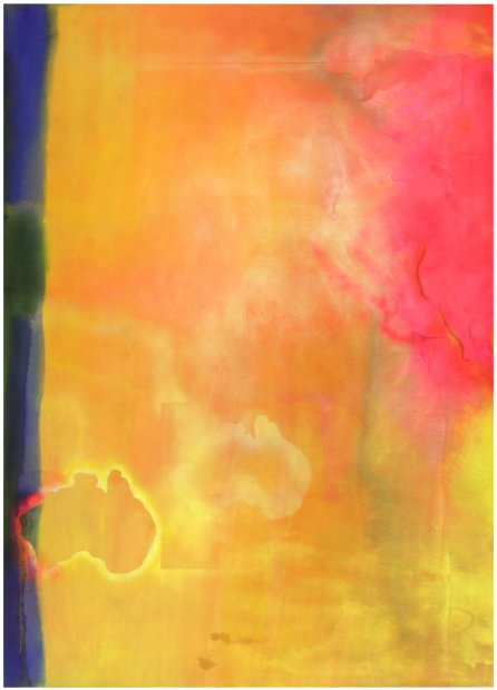Frank Bowling, Travelling with Robert Hughes, 1969-1970, acrylic on canvas, 282 x 211 cm