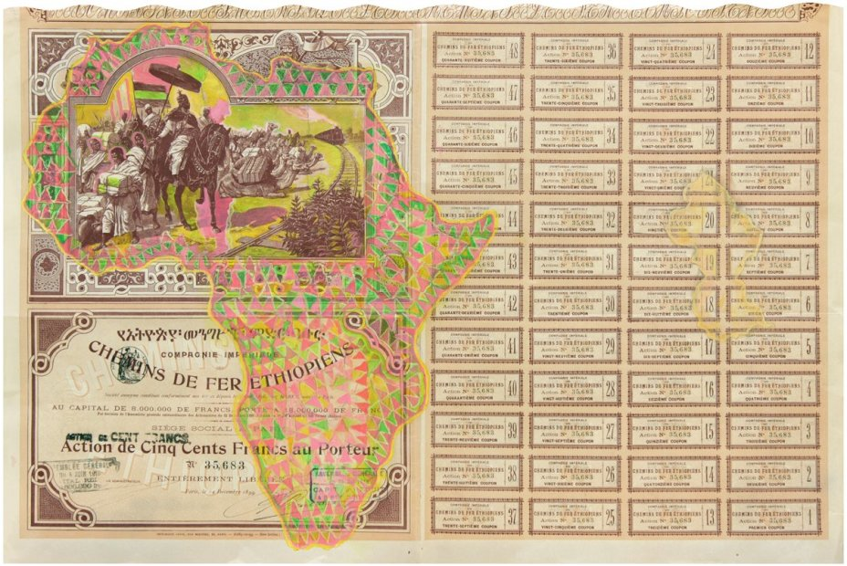 Hew Locke, Company of the Imperial Railway of Ethiopia 2, 2013, acrylic on found share certificate, 43 x 64 cm