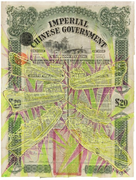Hew Locke, Imperial Chinese Government, 2013, acrylic on found share certificate, 38 x 28 cm