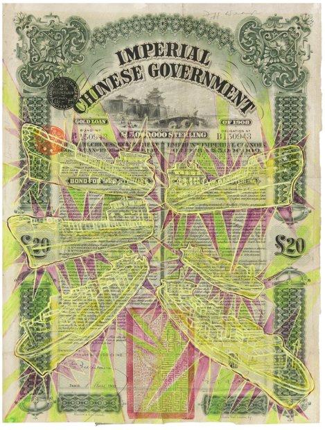 <p>Hew Locke, <em>I</em><em>mperial Chinese Government</em>, 2013, acrylic on found share certificate, 38 x 28 cm</p>