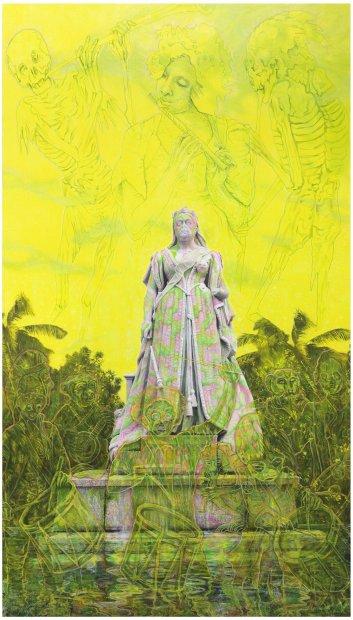 Hew Locke, Hinterland, 2013, acrylic on c-type photograph, 265 x 151.5 cm