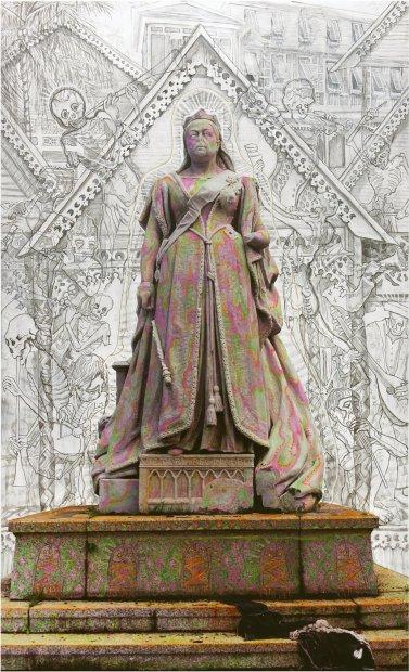 Hew Locke, Victoria, Law Courts, 2013, acrylic on c_type photograph, 198 x 127 cm