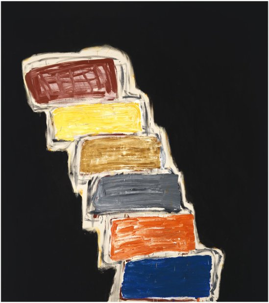 <p>Basil Beattie<em>, Step Up On</em>, 2013, oil on canvas, 213 x 198 cm</p>