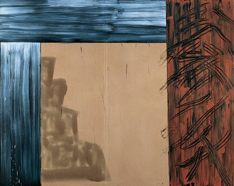 <p>Basil Beattie<em>, Yielding Door II</em>, 1993, oil and wax on flax, 244 x 305 cm</p>