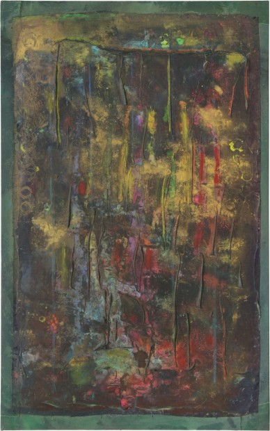 Frank Bowling, Darkgateway, 2013, acrylic on canvas, 120 x 75 cm